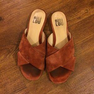 Anthropologie suede sandals